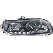 Alfa Romeo 156 98-02 Black Projector Head Lamp w LED