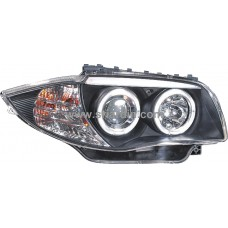 BMW E87 04-06 Black Projector Headlamp w Ring